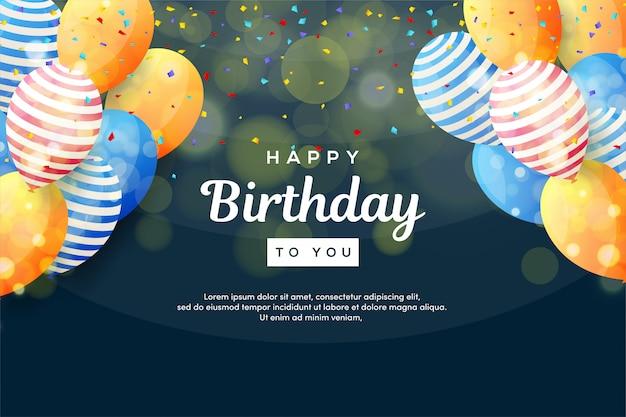 Priorità bassa della festa di compleanno con l'illustrazione variopinta dell'aerostato 3d.