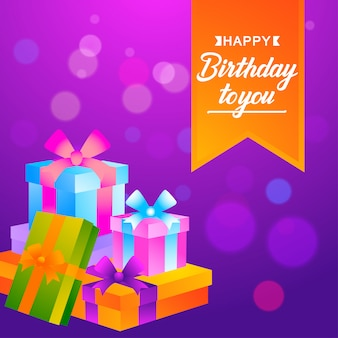 Sfondo festa di compleanno con scatole regalo
