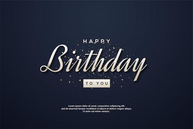 Sfondo festa di compleanno con testo bianco su uno sfondo blu scuro.