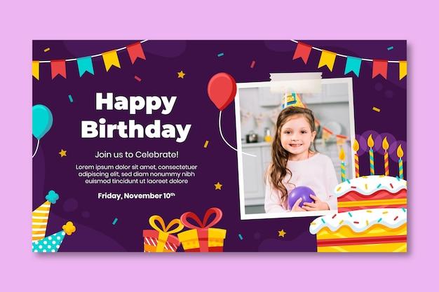 Modello di banner festa di compleanno
