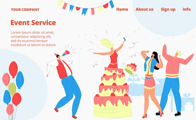 Celebrazione della festa di compleanno, persone con amici, pagina di destinazione del servizio eventi,
