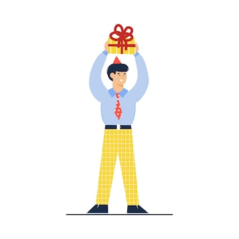Uomo allegro della festa di compleanno che tiene l'illustrazione di vettore di schizzo del regalo isolata
