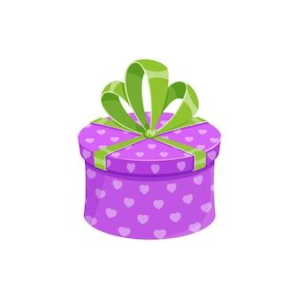 La festa di compleanno o il contenitore di regalo di natale hanno isolato la scatola regalo rotonda del fumetto dell'illustrazione di vettore con viola