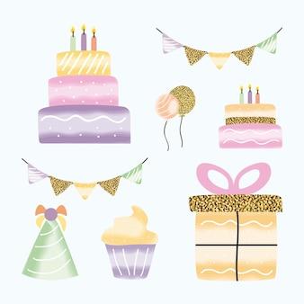 Set di elementi di festa di compleanno