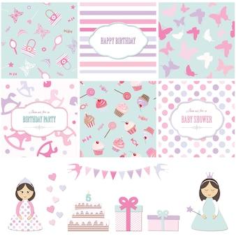 Insieme di elementi di disegno della doccia del bambino della festa di compleanno e della ragazza.