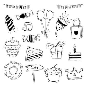 Raccolta di icone festa di compleanno con ciambella, fetta torta e cupcake
