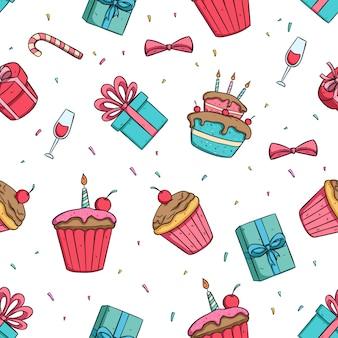 Icone di festa di compleanno o decorazione nel reticolo senza giunte con lo stile colorato di doodle