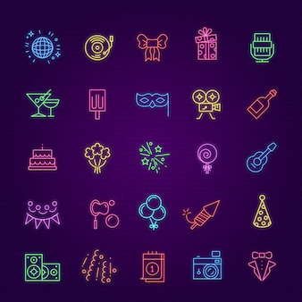 Icone di festa di compleanno. elementi di bagliore di celebrazione al neon. regalo di illuminazione, cocktail di fuochi d'artificio e gelato