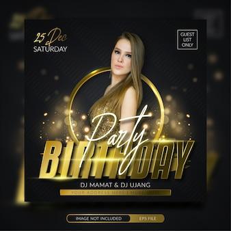 Modello di banner quadrato post instagram festa di compleanno