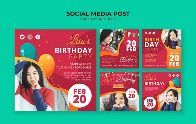 Modello di post instagram social media invito festa di compleanno Vettore Premium