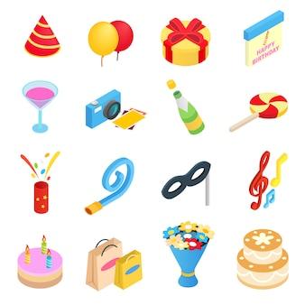 Icone isometriche 3d della festa di compleanno messe