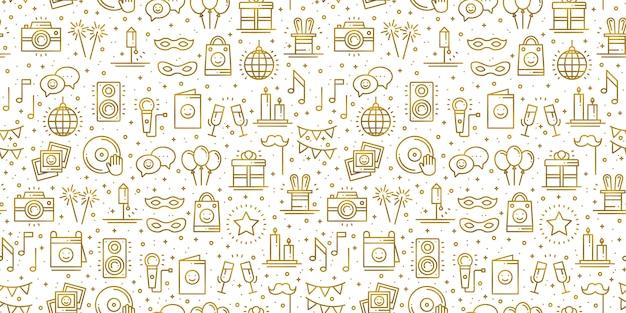 Modello senza cuciture di festa di compleanno in oro. elementi di arredo per feste: torta di compleanno, regali, coriandoli. tema festivo, evento, intrattenimento, divertimento, carnevale. trama dorata.