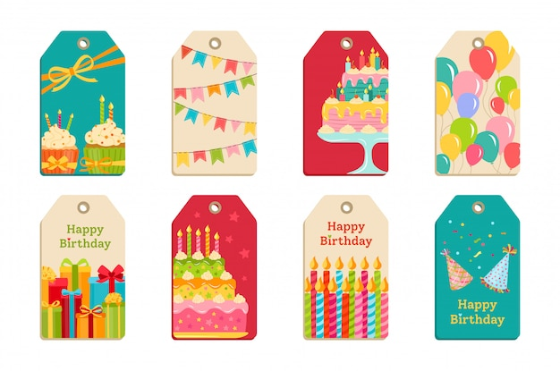 I tag della festa di compleanno hanno impostato l'etichetta di celebrazione Vettore Premium