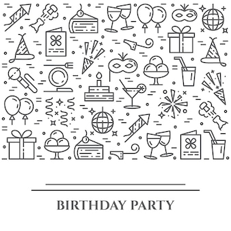 Bandiera orizzontale di tema festa di compleanno.