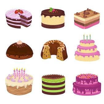 Torte saporite di vettore della festa di compleanno. anniversario che decora torta e cupcakes
