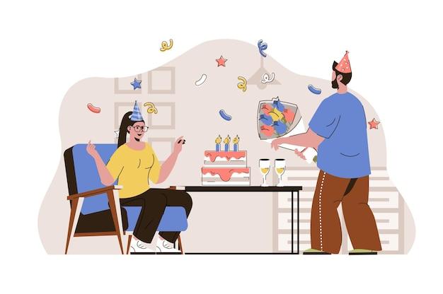 Illustrazione di concetto di festa di compleanno web con carattere di persone piatte