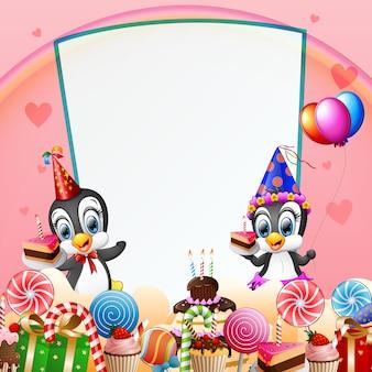 Pinguino di compleanno con caramelle e sfondo rosa