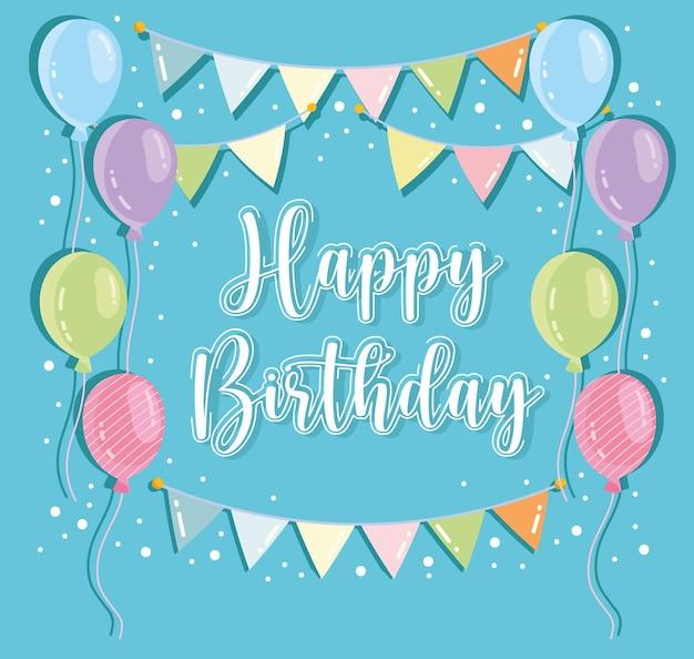Cartolina d'auguri di compleanno gagliardetti palloncini