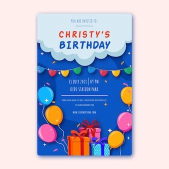 Modello di poster di compleanno con illustrazioni