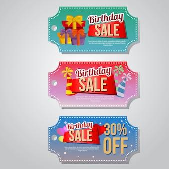 Insieme del modello del contenitore di regalo del buono di vendita di compleanno