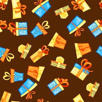 Reticolo multicolore senza giunte di compleanno con scatole regalo su uno sfondo bianco. stile cartone animato. .