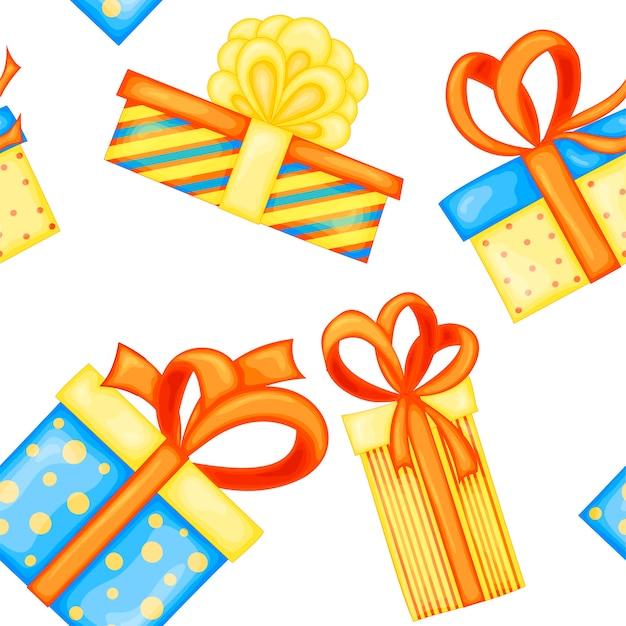 Modello multicolore senza cuciture di compleanno con scatole regalo su sfondo bianco. stile cartone animato.