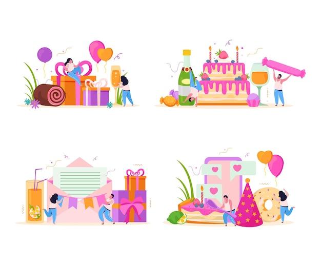 Set compleanno di quattro composizioni piatte con piccoli personaggi umani e lettere di auguri con scatole regalo