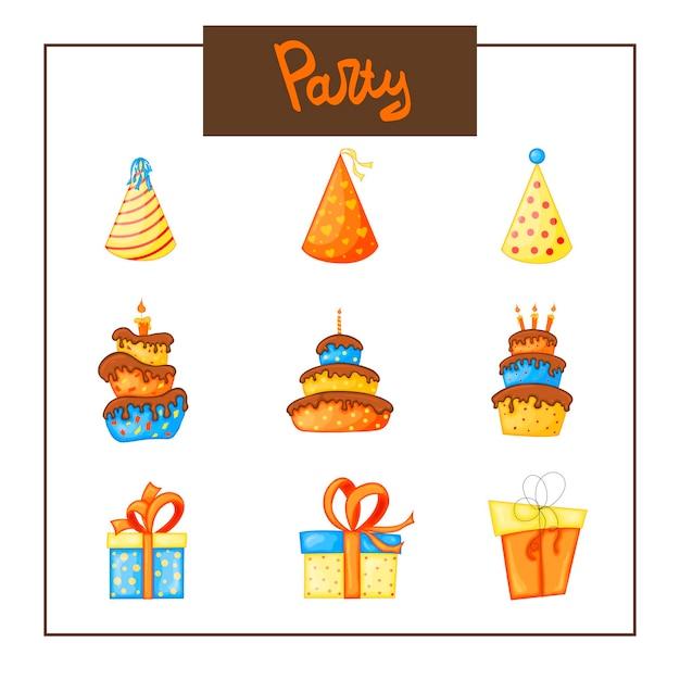 Compleanno set di articoli per biglietto di auguri o invito. stile cartone animato. illustrazione vettoriale.