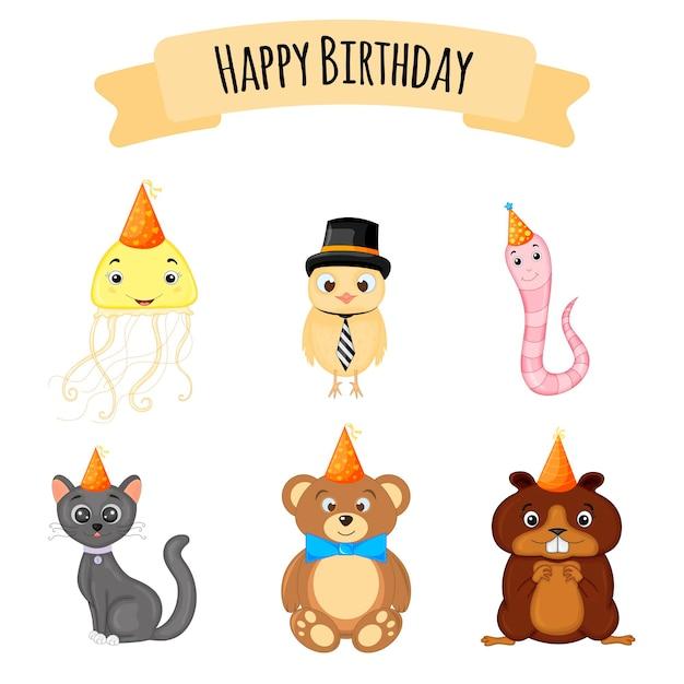 Set di compleanno con simpatici animali. stile cartone animato. vettore.