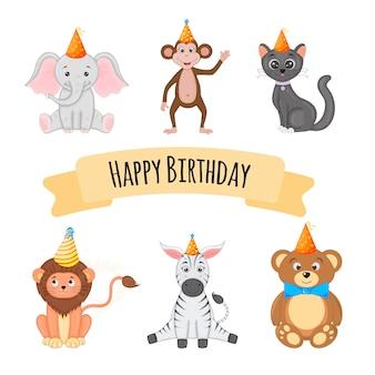 Set compleanno con simpatici animali su un bianco