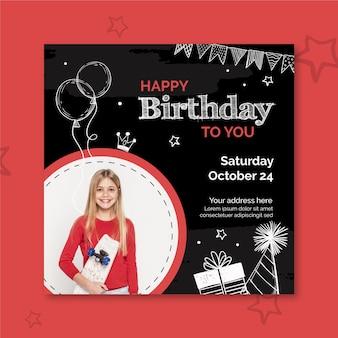 Modello di volantino quadrato di compleanno con foto