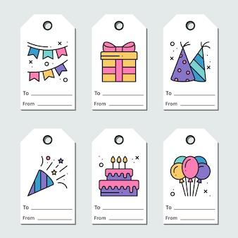 Progettazione delle etichette di compleanno su fondo bianco. collezione di biglietti d'auguri festa in stile linea. simpatico set per anniversario o compleanno.