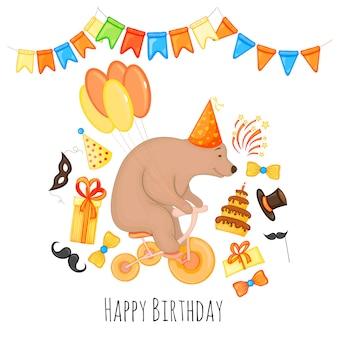 Modello di compleanno con orsacchiotto per biglietto di auguri o invito. stile cartone animato. illustrazione vettoriale.