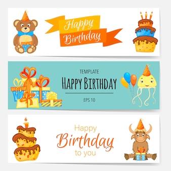 Modelli di compleanno per testo con attributi di vacanza. stile cartone animato. illustrazione vettoriale.