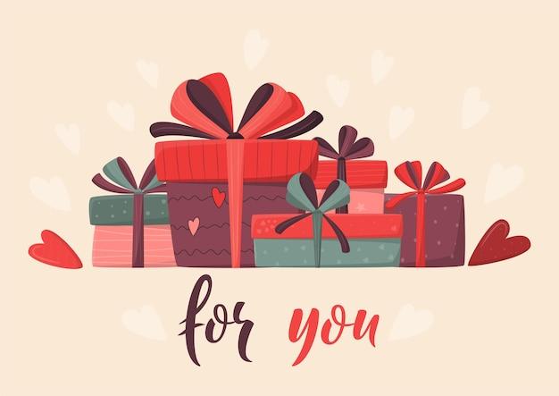 Concetto di compleanno o san valentino con scatole regalo