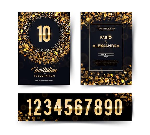 Biglietto doppio invito di lusso di carta nera vettoriale di compleanno con matrimonio collezione di numeri d'oro