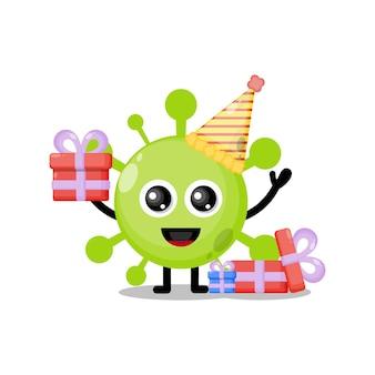 Compleanno virus simpatico personaggio mascotte