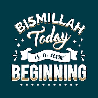 Lettering di citazione di bismillah