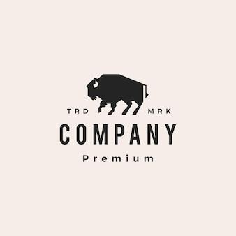 Illustrazione dell'icona di vettore del logo dell'annata dei pantaloni a vita bassa del bisonte buffalo