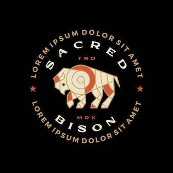 Illustrazione dell'icona di vettore del logo del distintivo dell'annata della maglietta del mosaico del bufalo del bisonte
