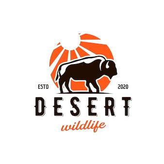 Disegno di marchio del sole del deserto del bisonte