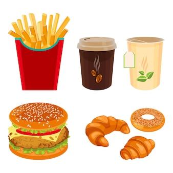 Set di cibi e bevande da bistrot doppio cheeseburger, patate fritte, tazza di caffè, tè, croissant e