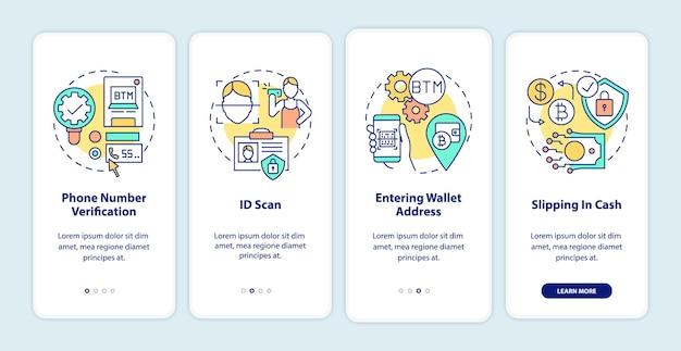 Procedura di verifica atm bitcoin onboarding schermata della pagina dell'app mobile con concetti. procedura per l'acquisto di contanti o carta di debito in 5 passaggi. modello di interfaccia utente con illustrazioni a colori rgb