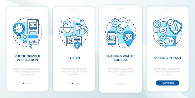 Procedura di verifica atm bitcoin onboarding schermata della pagina dell'app mobile con concetti. procedura dettagliata per l'acquisto di contanti o carta di debito 5 passaggi. modello di interfaccia utente con illustrazioni a colori rgb Vettore Premium