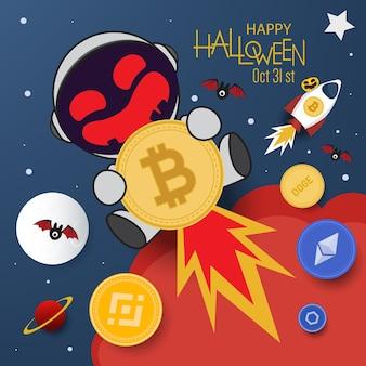 Illustrazione vettoriale di bitcoin banner. concetto di halloween