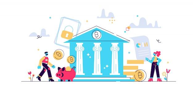 Bitcoin, tecnologia blockchain, mining di criptovaluta, finanza, mercato monetario digitale, portafoglio di monete crittografiche, illustrazione piatta di scambio crittografico per grafica mobile e web