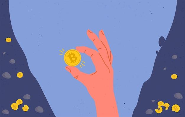 Moneta bitcoin in mano. illustrazione piatta.