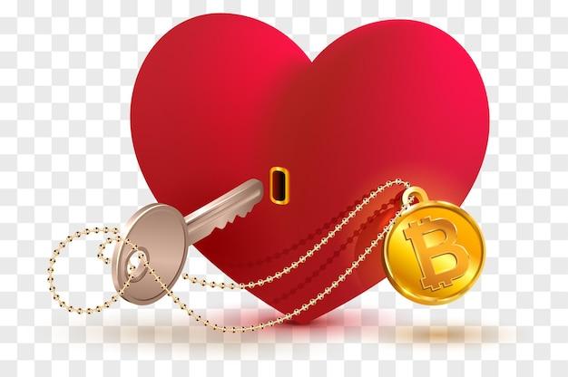 Chiave della moneta bitcoin a cuore. simbolo di disegno concettuale amore a forma di cuore rosso.