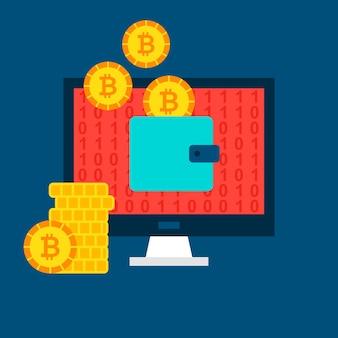 Concetto di portafoglio del computer bitcoin. illustrazione vettoriale di tecnologia finanziaria.