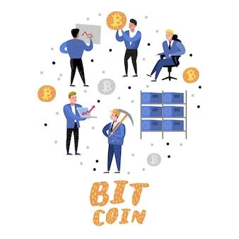 Concetto di bitcoin con personaggi dei cartoni animati piatti